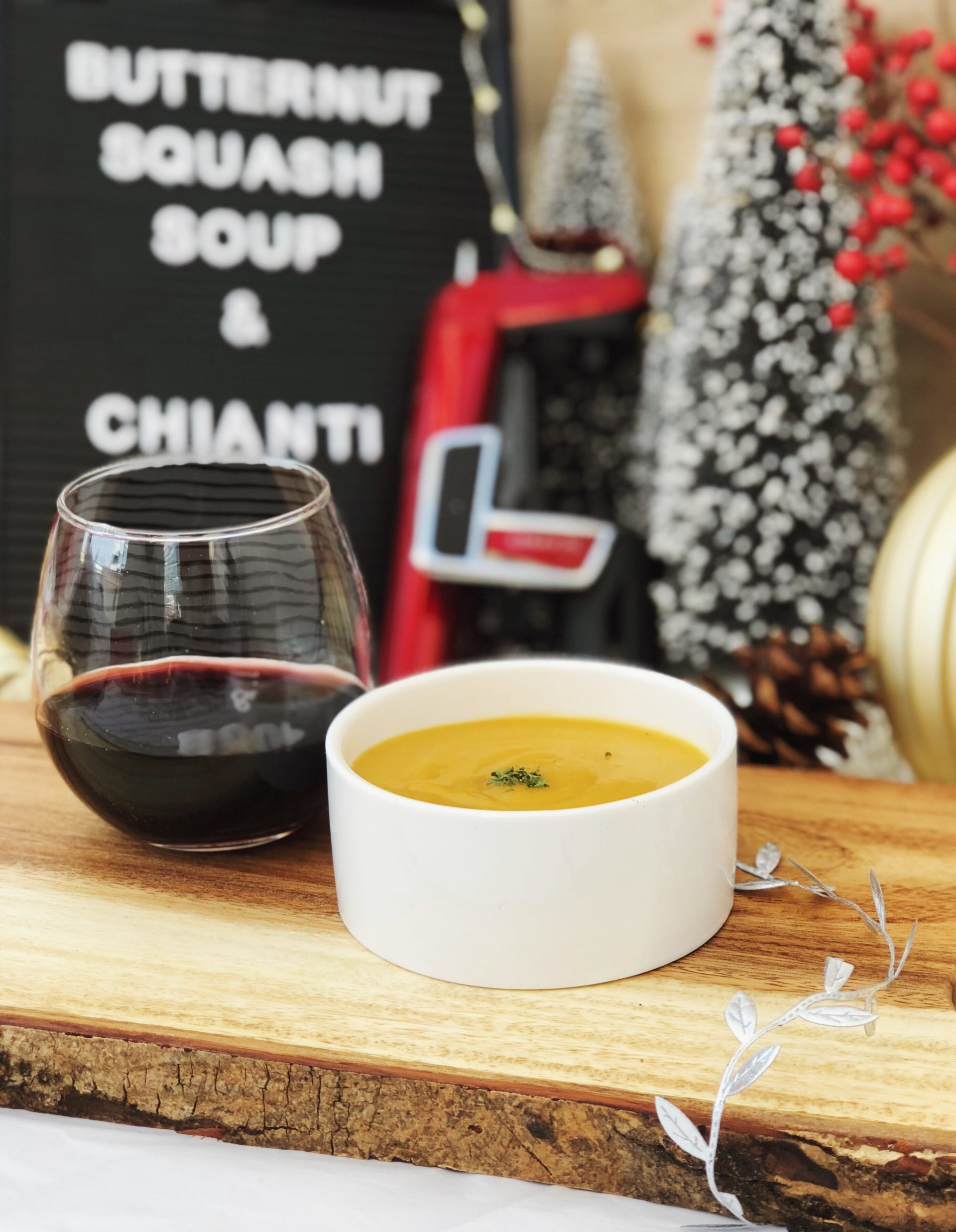 christmas wine pairings butternut squash soup and chianti
