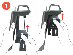 Step 1 - Two hands holding the Coravin Wine Preservation System, thumb pushing the Clamp Release up, sliding SmartClamps™ all the way up