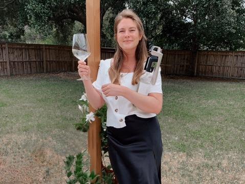 chelsie holding wine