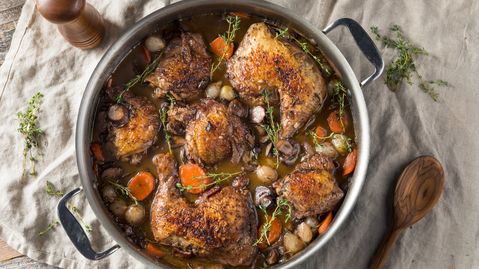 Coq Au Vin with brandy and red wine