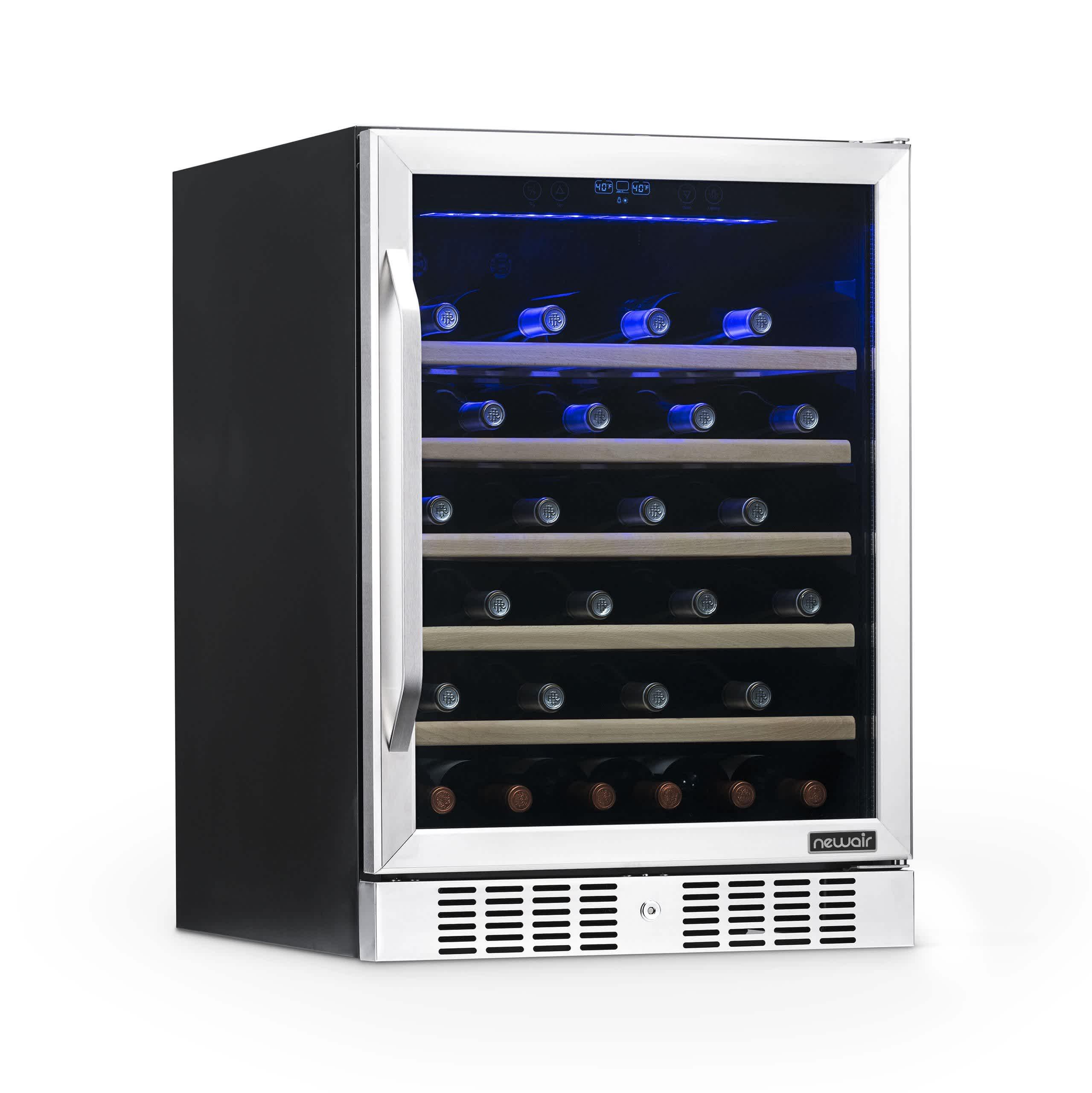 NewAir 24inch Built-In 52 Bottle Compressor Wine Fridge in Stainless Steel
