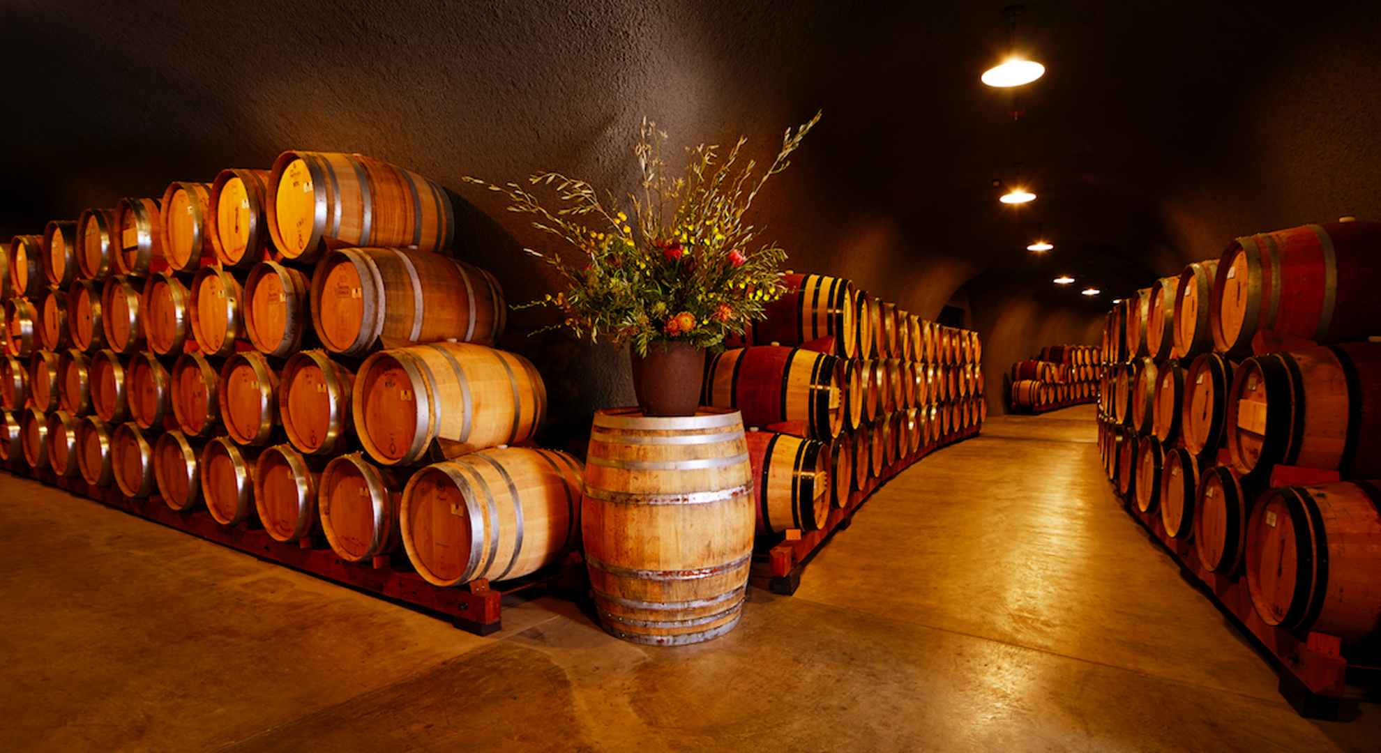 Hallway featuring rows of wine barrels.