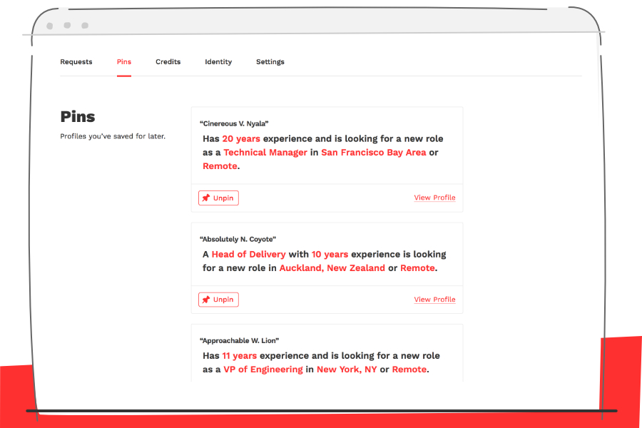 Stylized screenshot of the Pins section of a Hiring Manager Dashboard