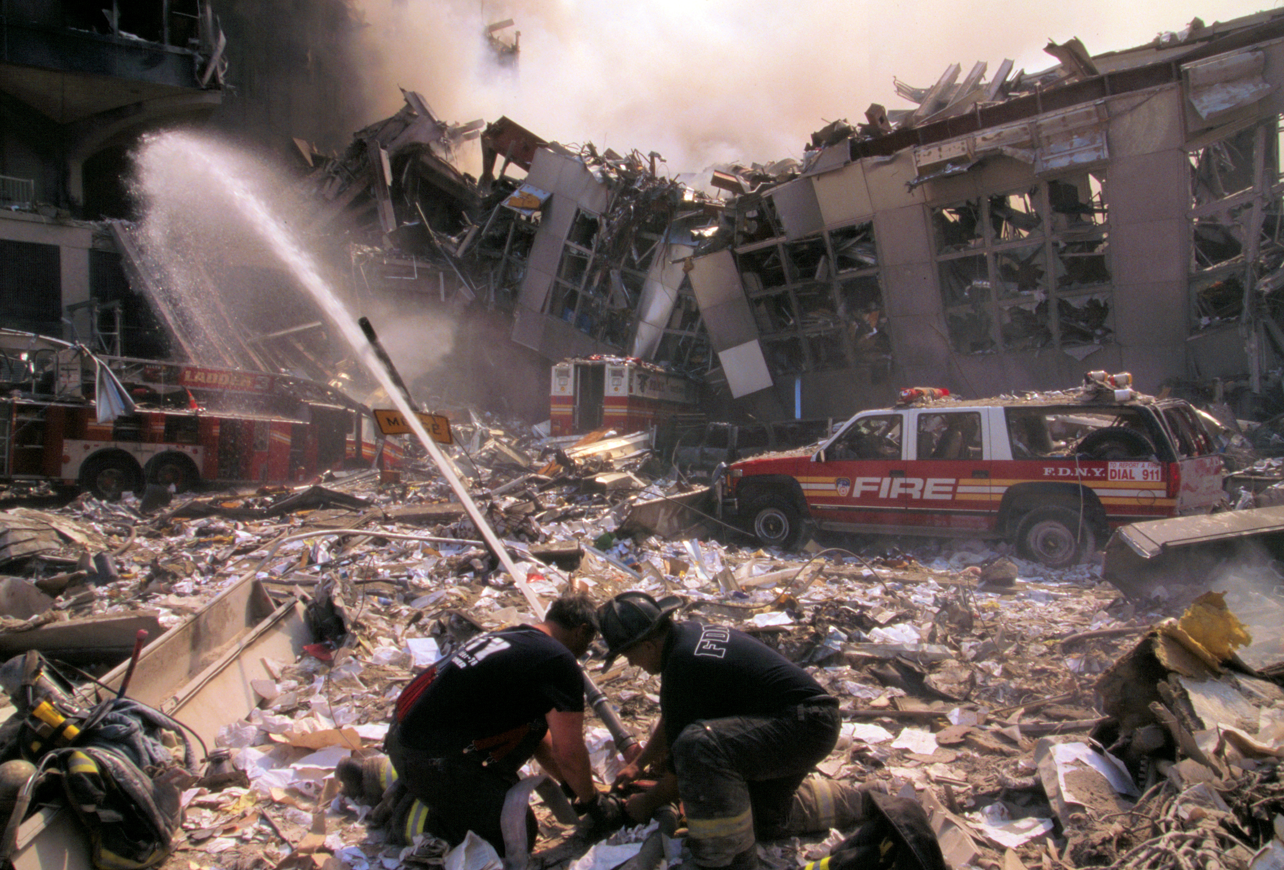 Fire fighting in the aftermath of the September 11th terrorist attack (29318289912)