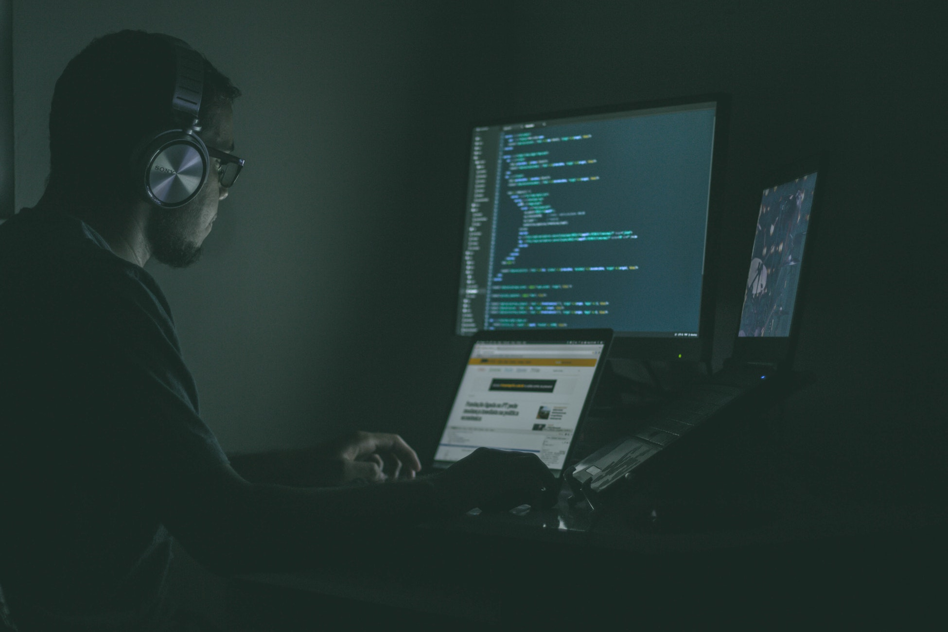 a cyber security engineer at his desk