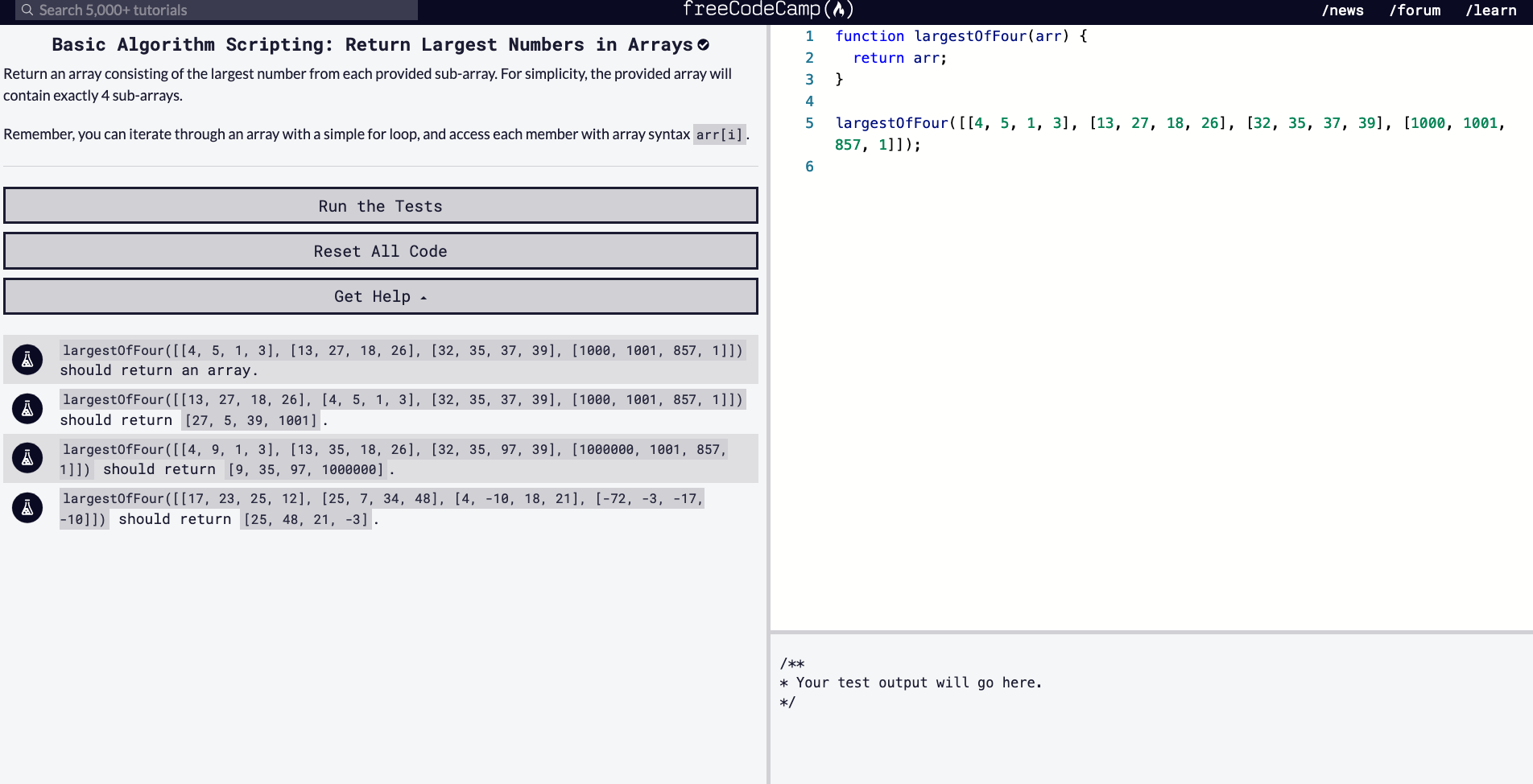 Return Largest Numbers in Array
