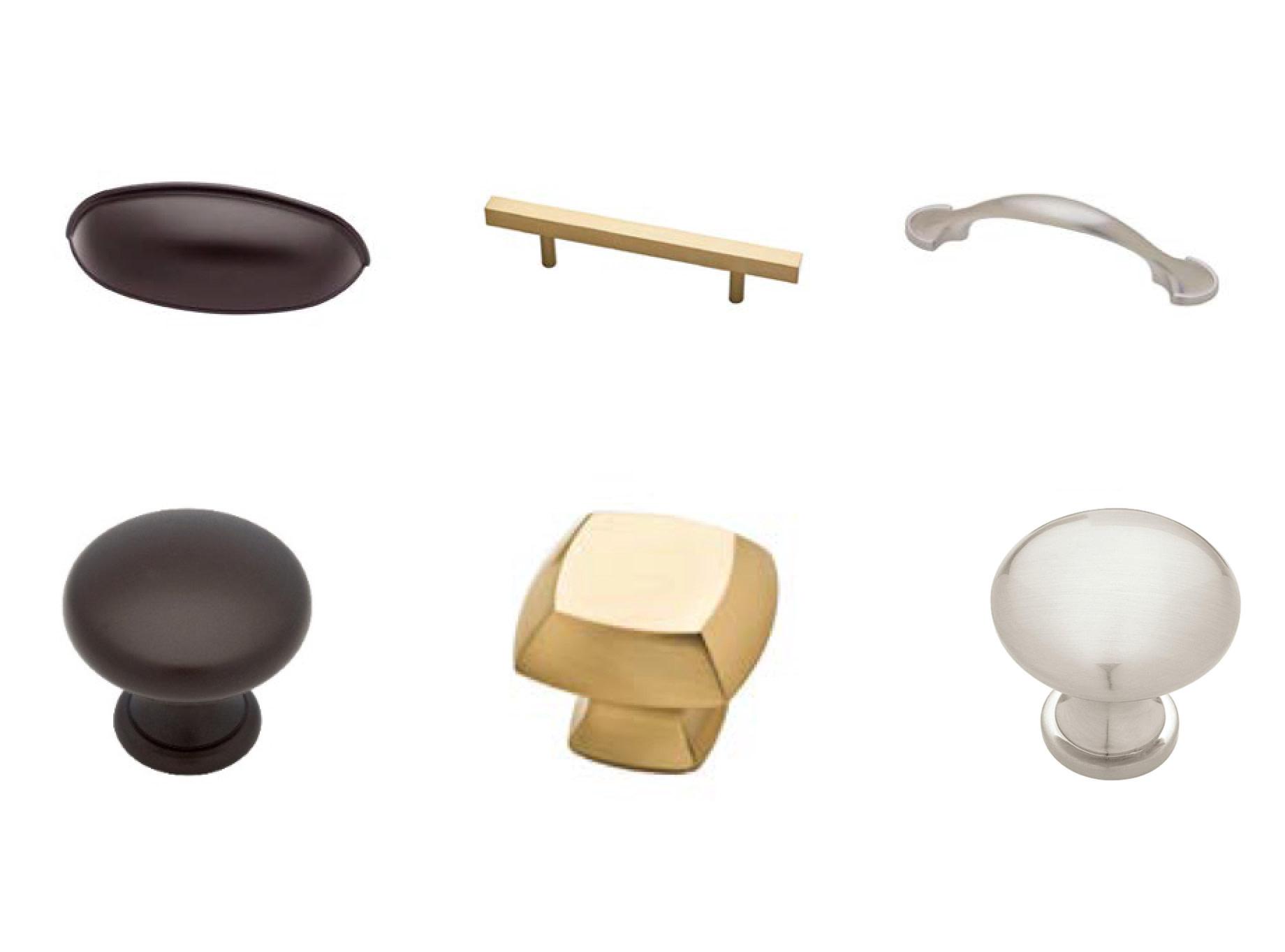 Gold cabinet hardware.
