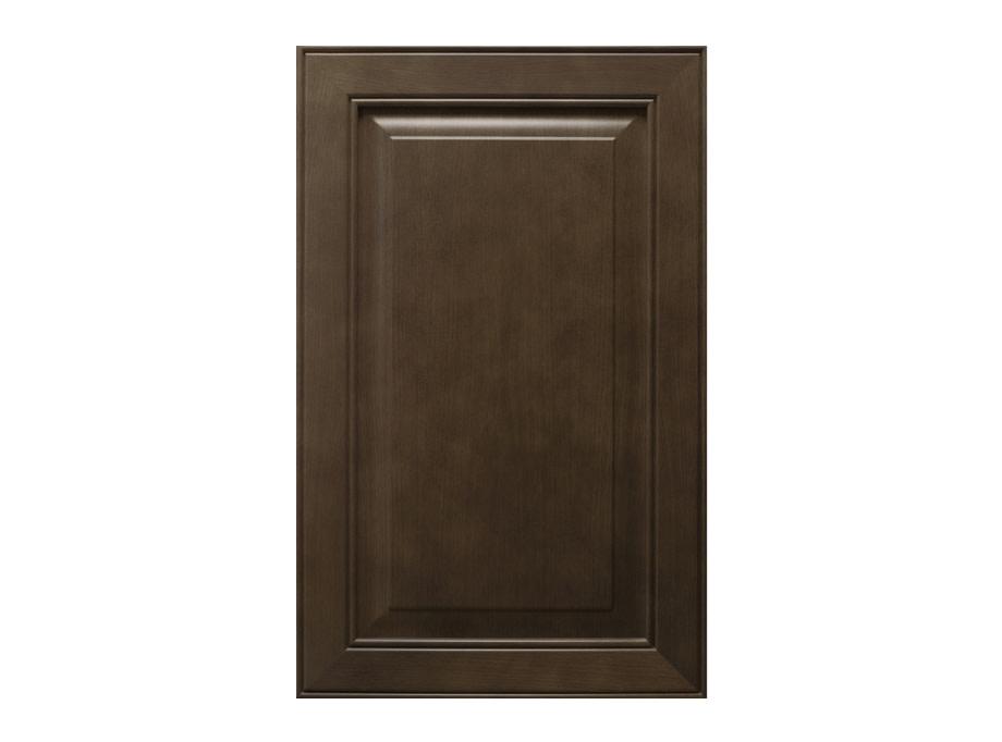 Dark wood raised panel cabinet door.