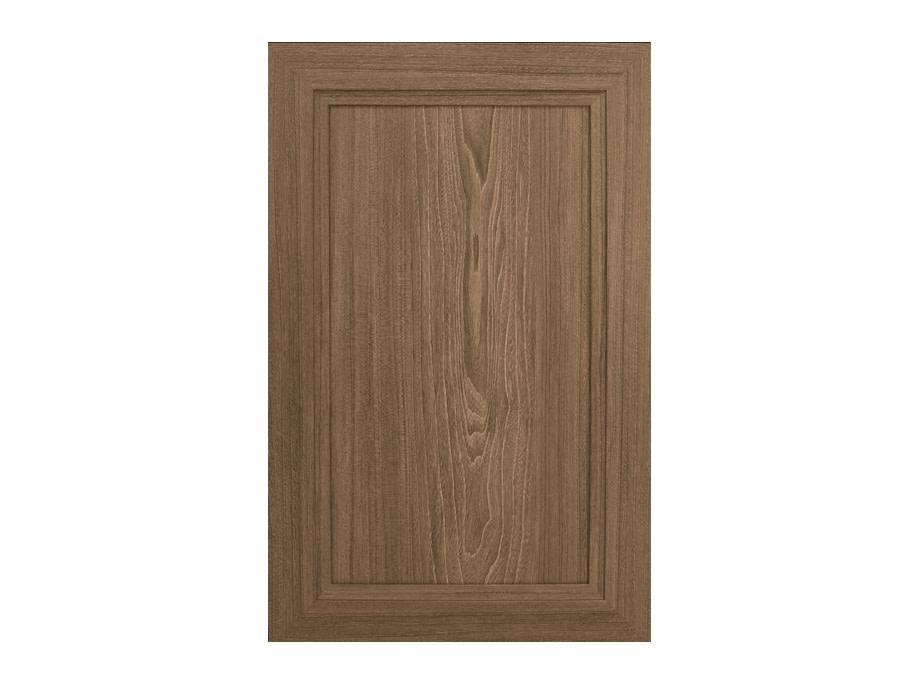 A wood recessed panel cabinet door.