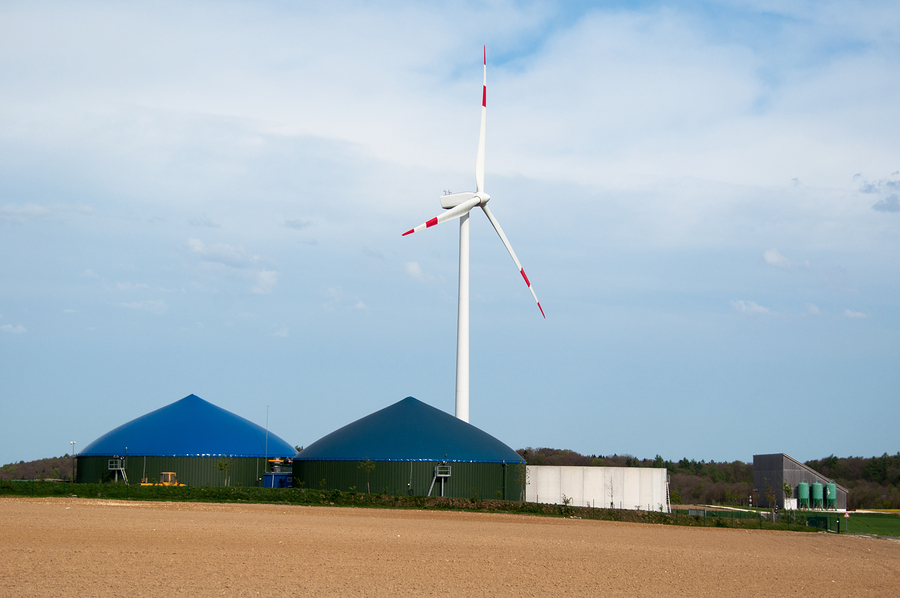 bigstock-Biogas-Plant-With-Wind-Turbine-32542730