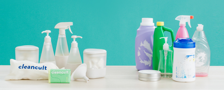 cleancult suite next to a plastic assortment of alternative cleaners