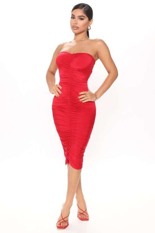 Julianna Ruched Midi Dress