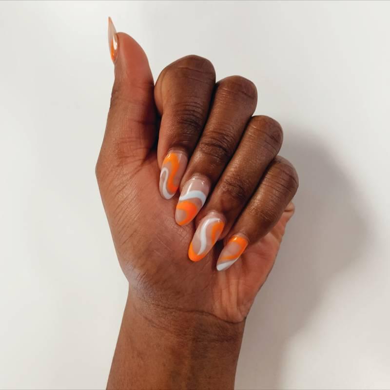 Orange white swirl