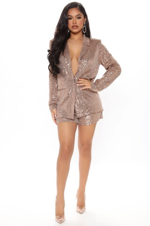 Sequin Blazer Short Set