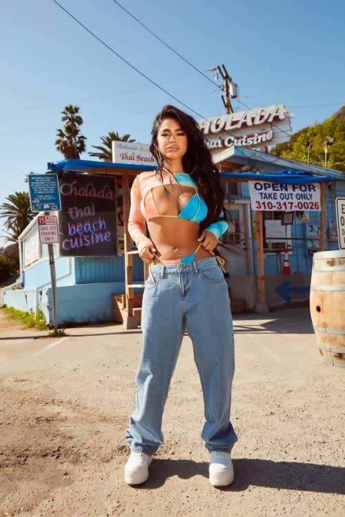 Bikini Top & Baggy Jeans