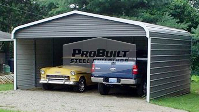 22' x 21' x 7' Regular roof carport w/sides closed & 1 end
