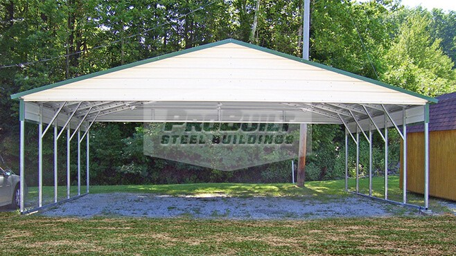 28' x 26' x 8' A-frame roof carport with 1/2 panel on each side