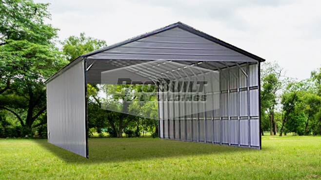 28' x 56' x 12' Vertical roof RV carport w/vertical sides