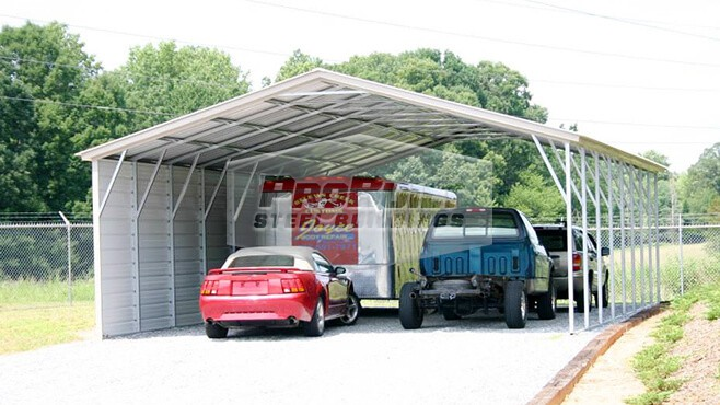 26' x 41' x 9' Vertical roof carport with 1 side closed