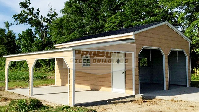 22' x 26' x 10' Vertical roof garage with drop down lean-to