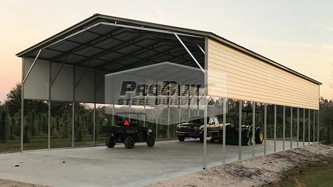 30' x 61' x 12' Vertical Roof RV Carport