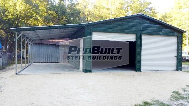 22' x 26' x 9' Vertical roof garage with lean-to
