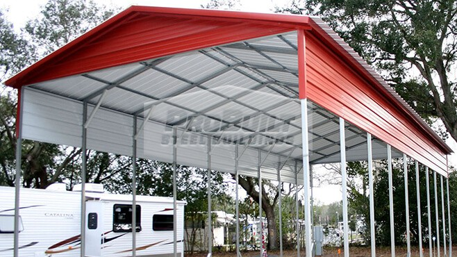 18' x 46' x 12' Vertical Roof RV carport w/ gables & side panels