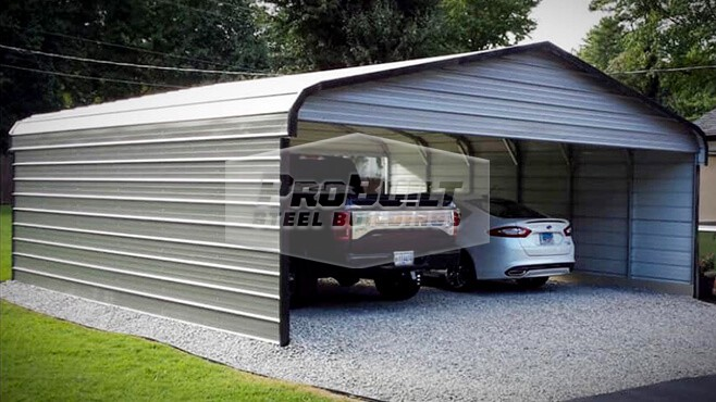 24' x 31' x 7' Regular roof carport with sides & gables closed