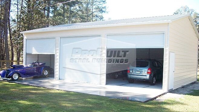 30' x 41' x 12' Vertical roof triple side entry garage