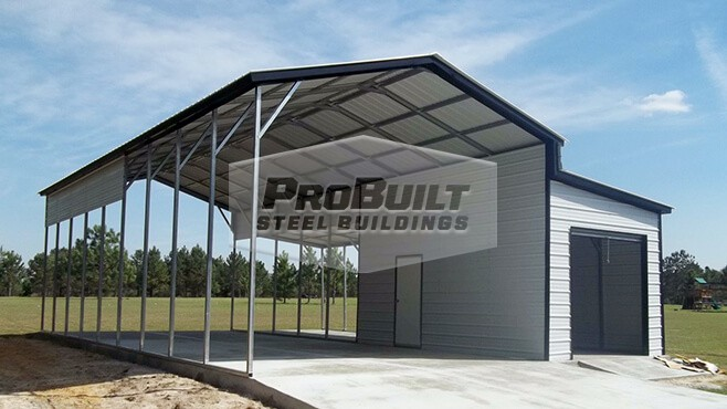 20' x 46' x 12' Vertical roof RV carport with 10' x 21' x 8' enclosed lean-to with 6x6 roll up door and walk in door