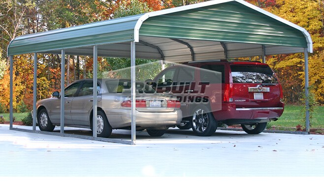 20' x 21' x 7' Regular roof carport with Gables closed