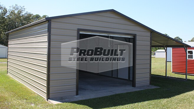 18' x 26' x 9' A-frame roof garage with 12' x 26 x 7' lean-to