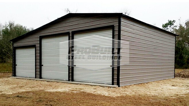 24' x 31' x 12' A-frame garage with enclosed lean-to