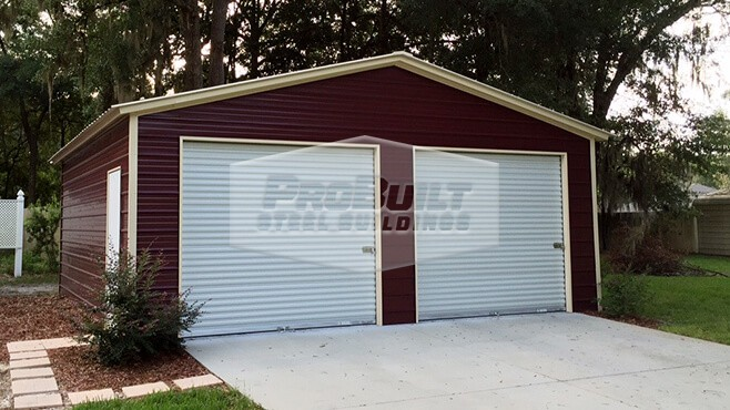 24' x 26' x 9' Vertical roof double garage
