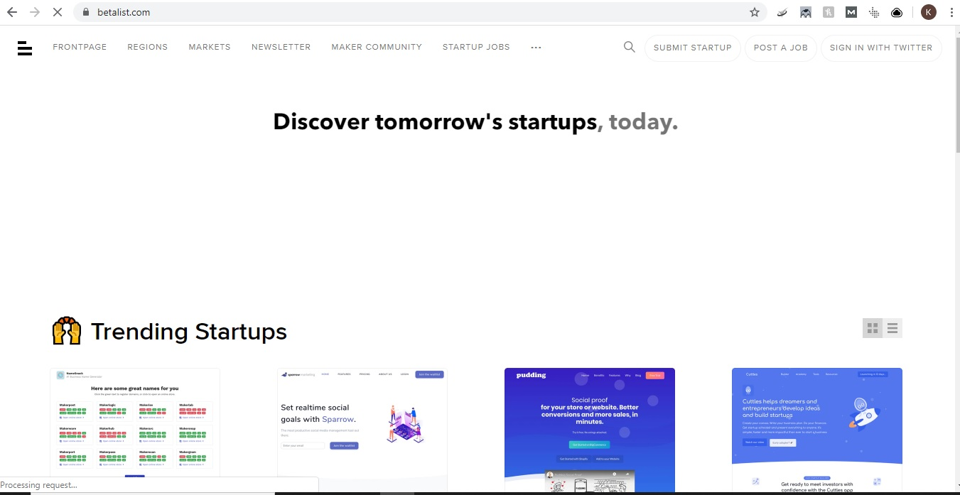 Betalist home page screenshot