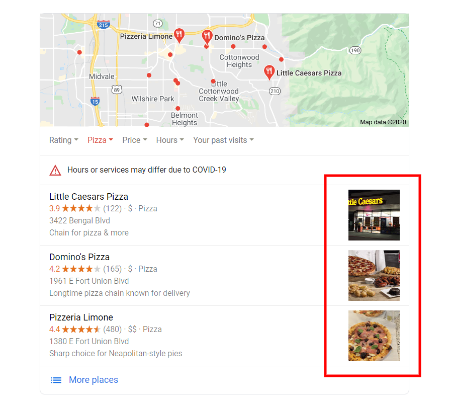 Pizza on Google Search