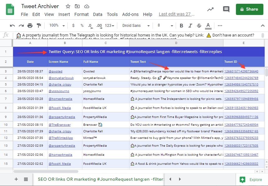 Tweet Archiver Google Sheets Add on Tool: Find PR opportunities