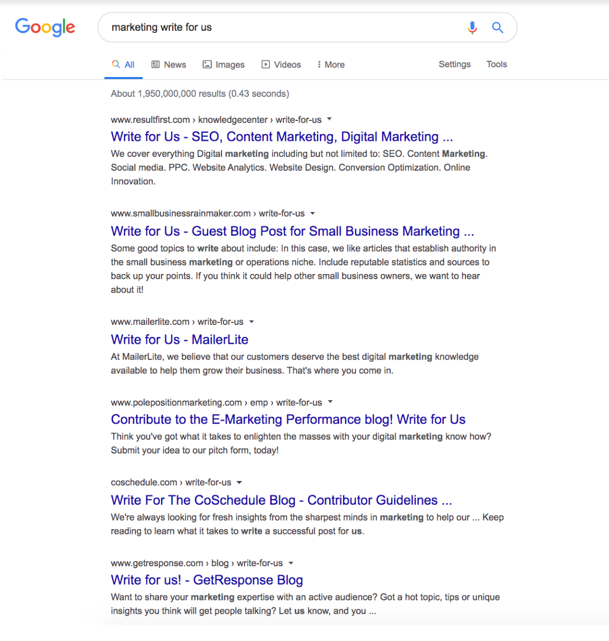 SERPs Query - marketing write for us