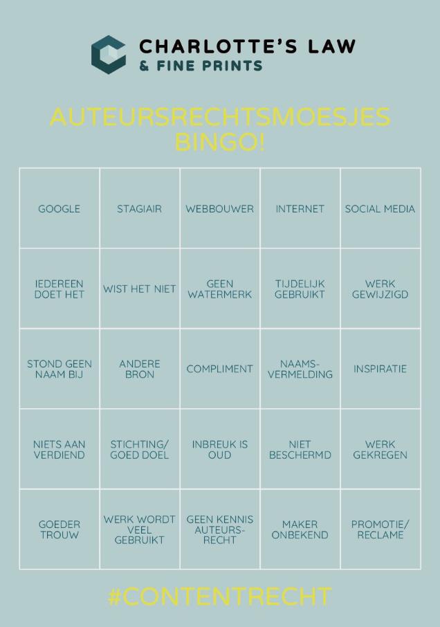 auteursrecht bingo