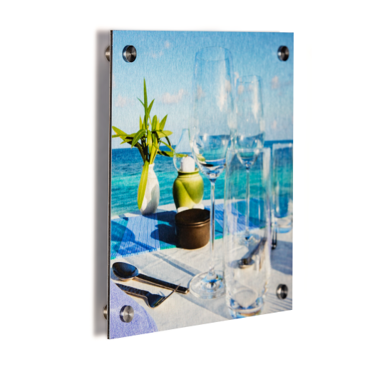 Photo on brushed aluminium