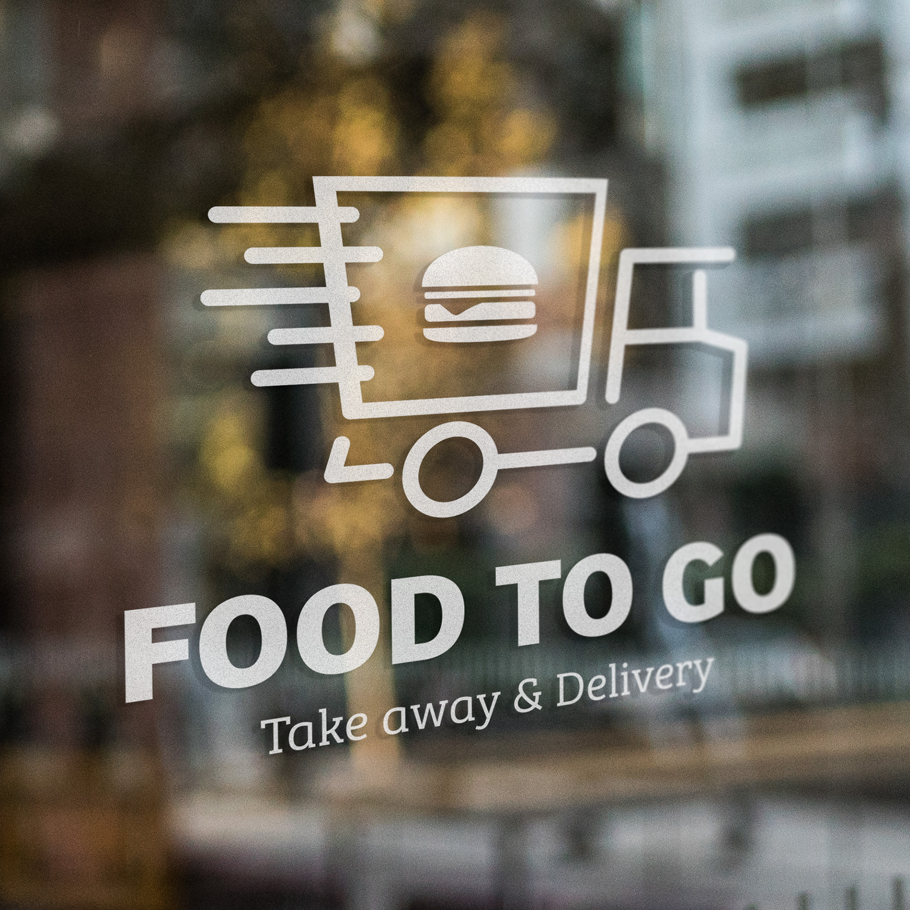Food To Go raamstickers