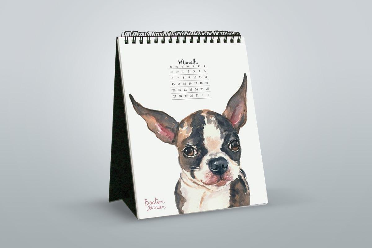 Bureau-kalender hondje