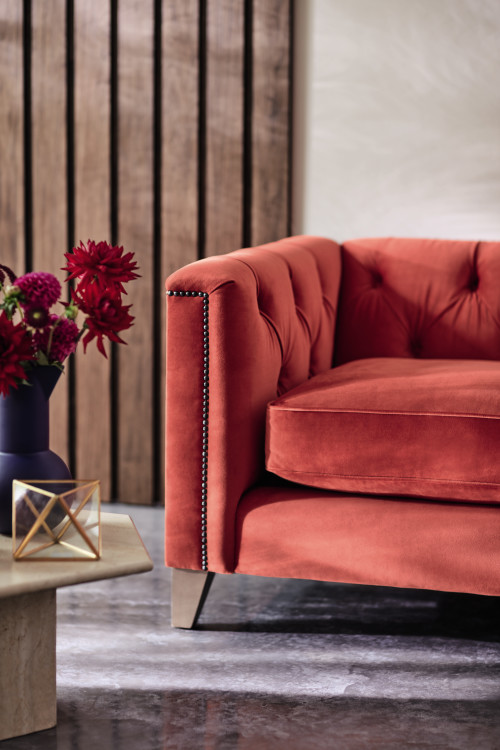 Red velvet chesterfield sofa by DFS, styled by South West and London Interior Designer Andrew Jonathan Design