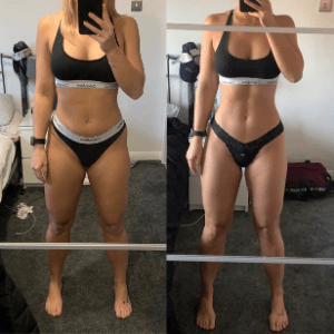 Fitness transformation image of FittAF client Emma.