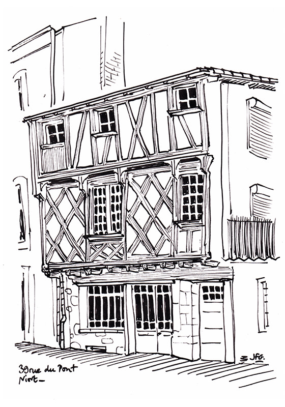 Wandering the little lanes of Niort with my pencils and sketchbook