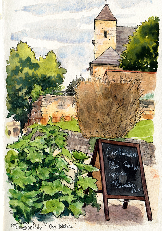 Discover the quaint village of Saint-Amand-de-Coly in drawings
