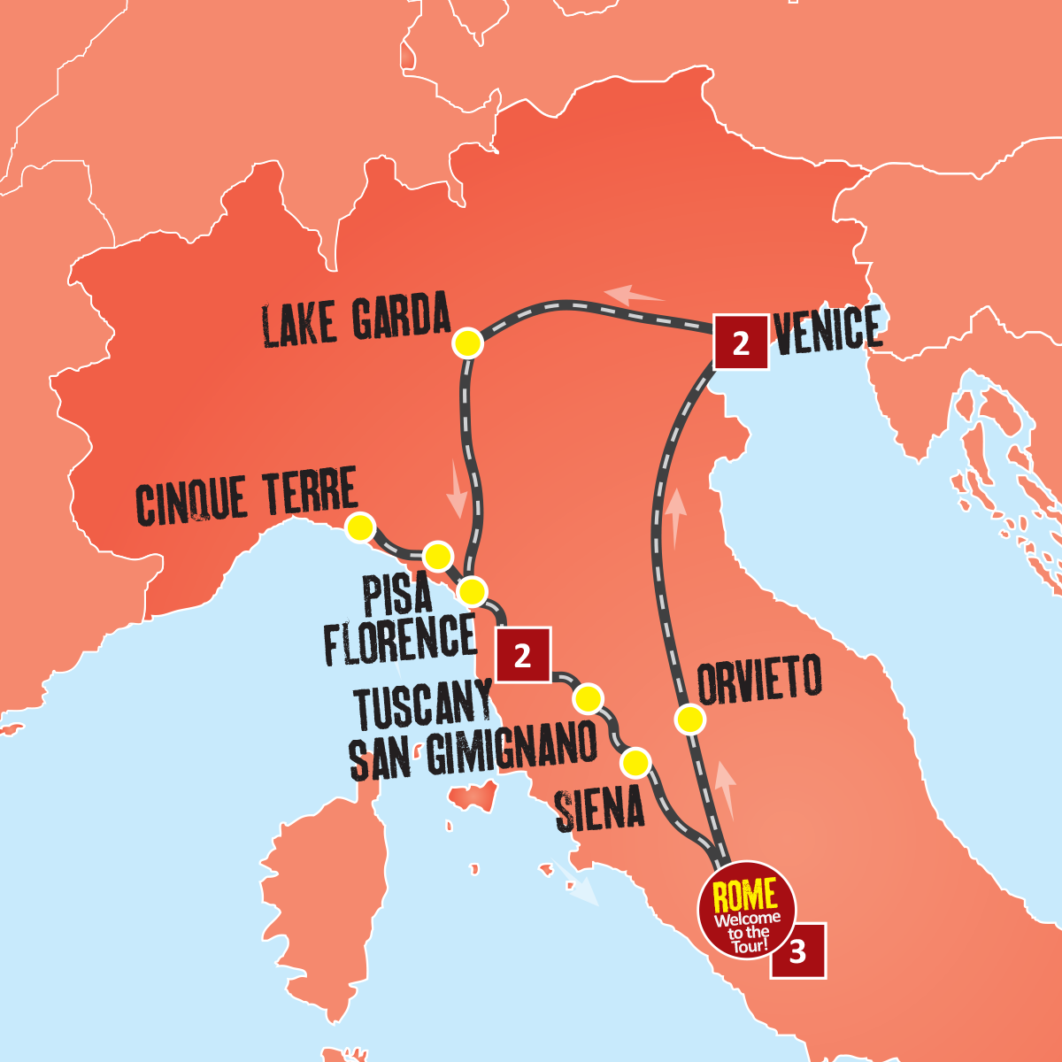 Map Of Italy Showing Pisa.Europe 8 Day Italy Tour Italian Coach Tours Expat Explore Travel