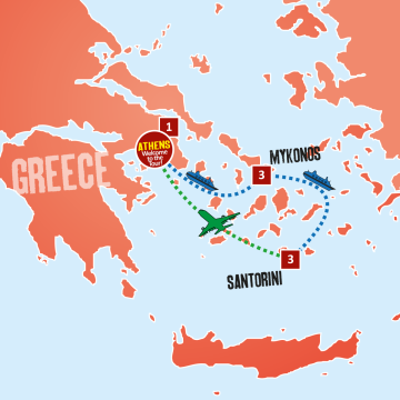 Athens, Mykonos & Santorini