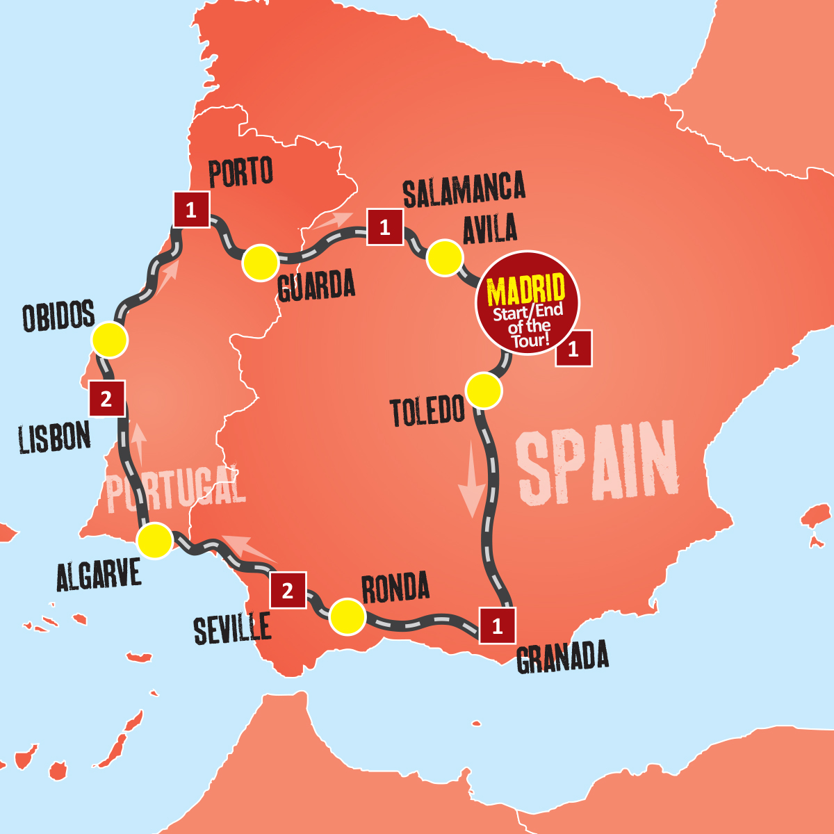 Map Of Spain 8th Century.Spain And Portugal Tour Coach Tours From Madrid Expat Explore