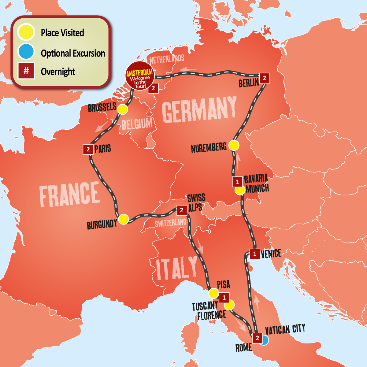 Paris Europe Map.Paris Rome Berlin Europe Coach Tour Expat Explore